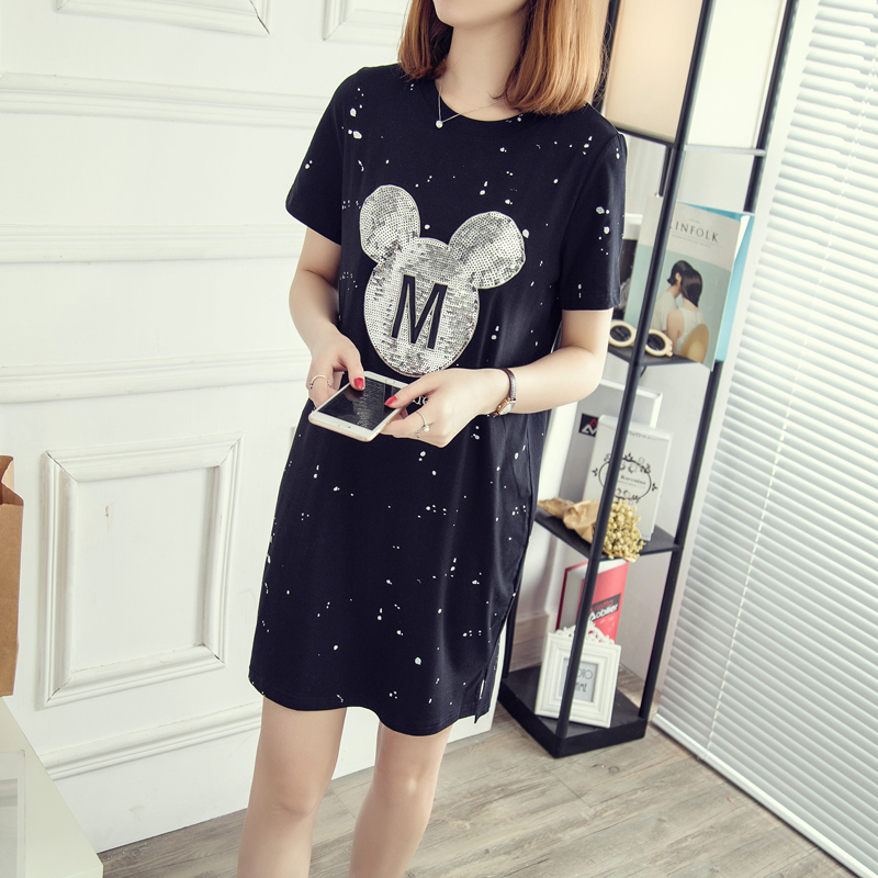 Womens karikatür dress mickey kısa kollu mini dress İnce bodycon seksi parti 2017 4xl
