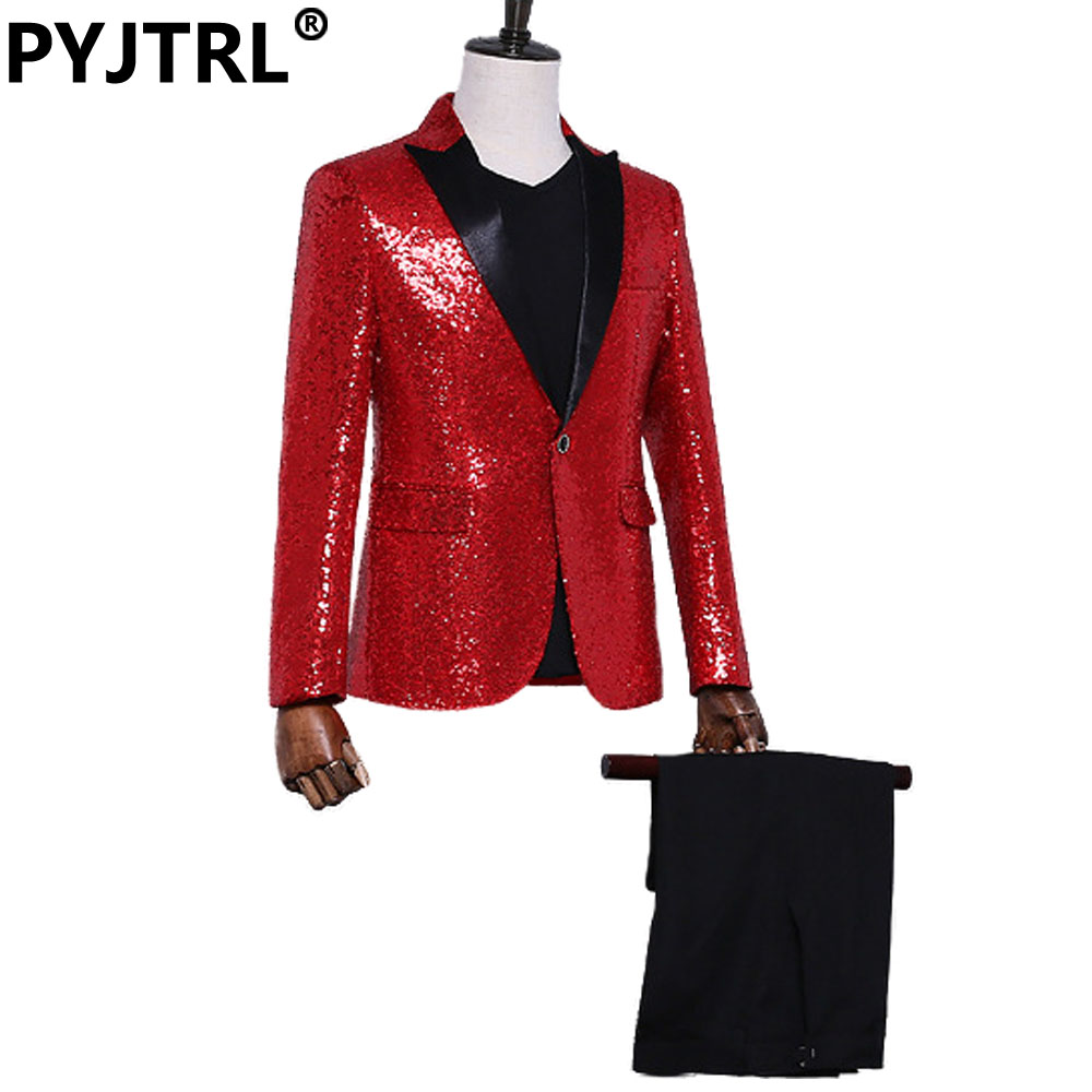 (Jacket+Pants) Tide Red Sequins Male Nightclub Men&39;s Host Singer Stage Performance Costumes Italian Wedding Suit Party Suits