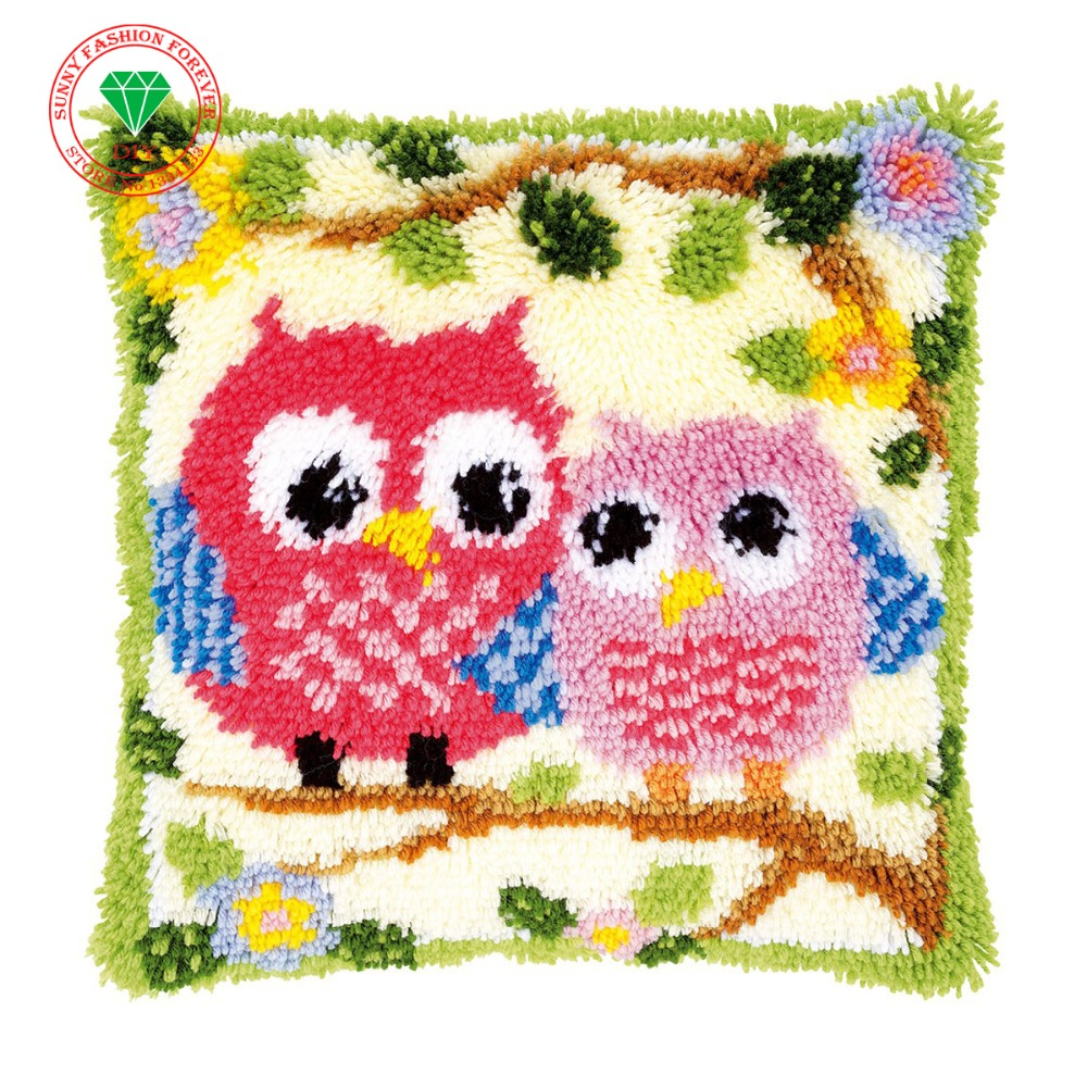 Diy Pillow thread Carpet embroidery stitch threads Latch hook rug kits crochet hooks knitting needles patchwork carpet Cartoon