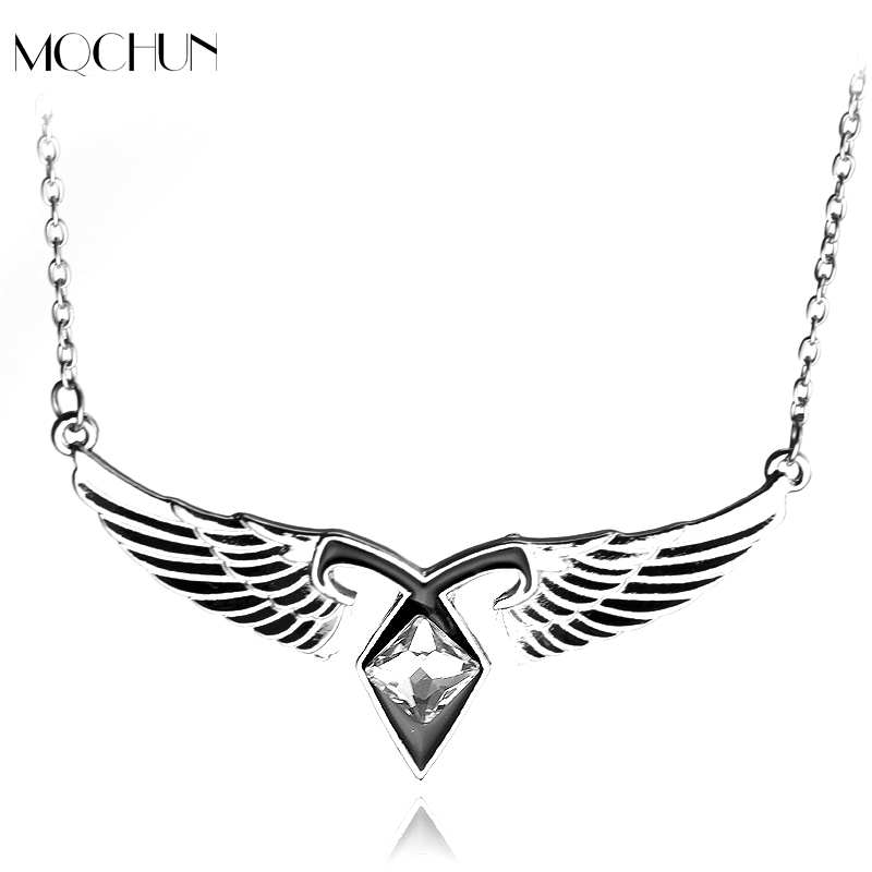 Women Film Jewelry Mortal Instruments City of Bones Ashes Angel Wings Power Rune Pendant Necklace Gift For Women Men Jewelry