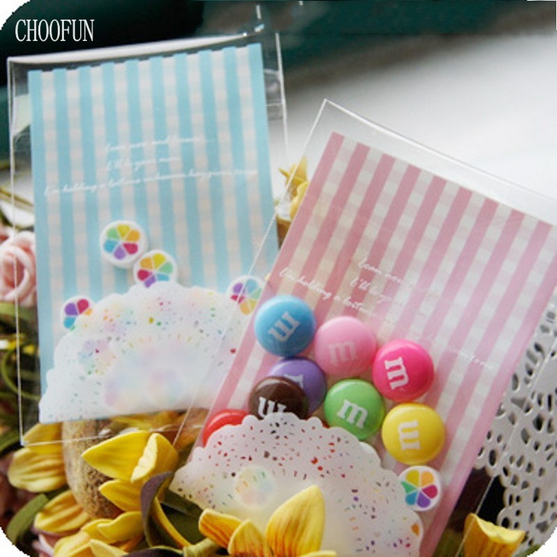 100pcs/lot 7*10+3cm Lace Vertical stripes OPP Self-adhesive Seal DIY Gift Packaging Bags Candy and Cookie Baking Bag BZ137